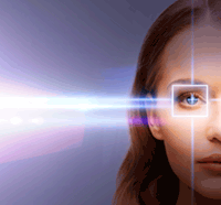 Woman with laser light and grid