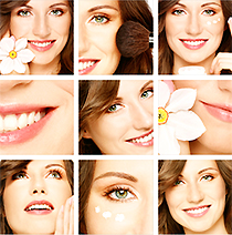 Montage of images of a woman with flower
