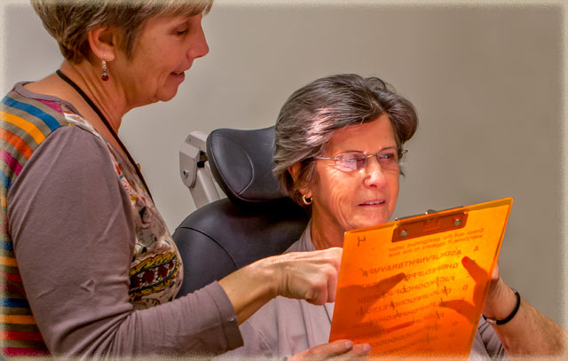 Donna Inkster and Virginia Walsingham in the Ned S. Witkin Vision Rehabilitation Clinic