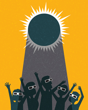 Illustration of people with safety glasses in the sun